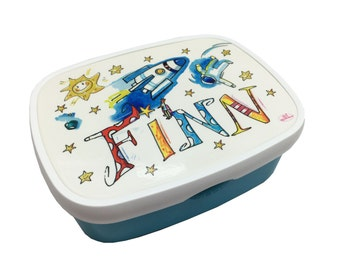 Lunch box with name, rocket, personalizable, Rosiosinchen