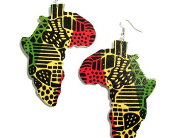 Africa Earrings | Wood Earrings | 420 | Rasta Jewelry