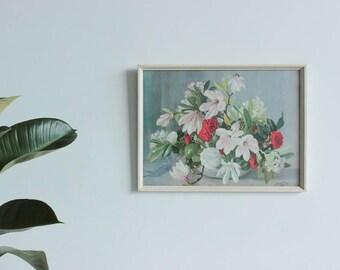 Vintage A. Nikolsky Framed Magnolia and Camelia Flowers Print