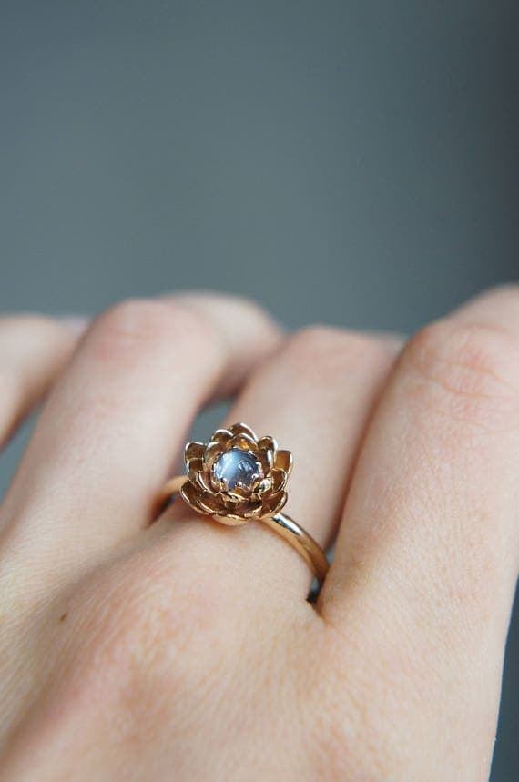 moonstone engagement ring flower engagement ring yellow gold. Black Bedroom Furniture Sets. Home Design Ideas