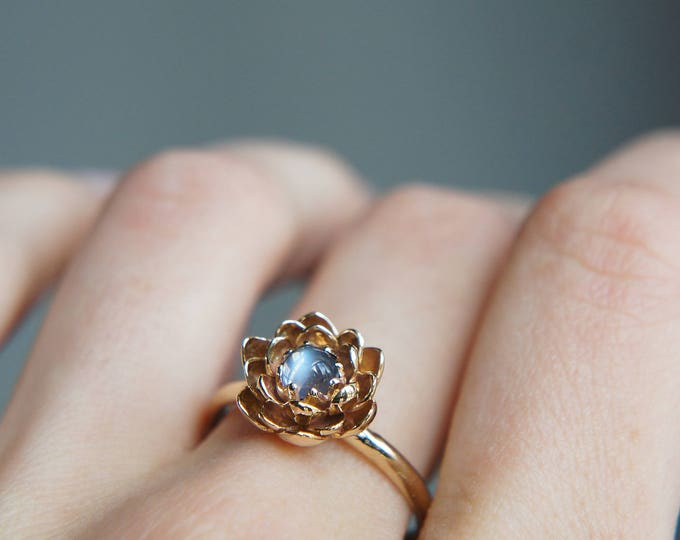 Featured listing image: Moonstone engagement ring, flower engagement ring, yellow gold ring, unique engagement ring, proposal ring, lotus ring, floral jewelry, 14K
