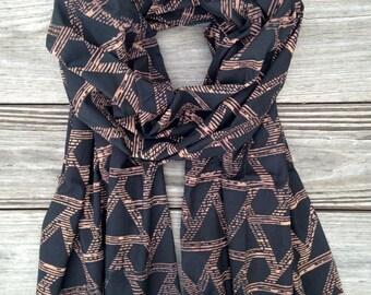 Deep Blue and Peach Triangles Hand Block Printed Cotton Scarf: Fair Trade
