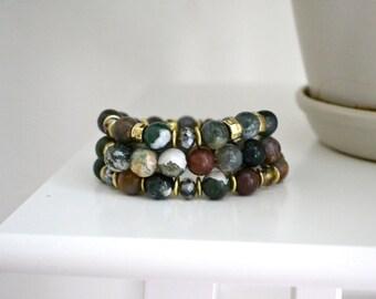 Jasper Stone Beaded Bracelet Set, Semi Precious Stretch Bracelet, Stacking Bracelet Set, Gift for Her, Elastic Bracelet, Boho Bracelet Set