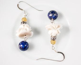 Chinese Lotus Earrings in Coral and Lapis, Silver Chinese Earrings, Chinese Jewelry, Asian Lotus Earrings | Lotus In Heaven
