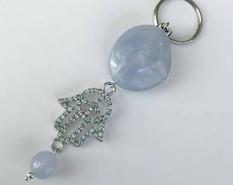 Blue Hamsa key chain, Protective Hamsa charm key chain