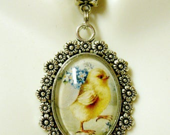 Easter chick with forget me nots pendant and chain - BAP05-025