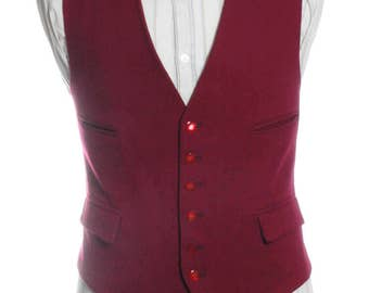 Vintage 1960's Burgundy Wool Waistcoat 42 L- www.brickvintage.com