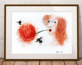 Watercolor print Lady with a Rose. Watercolor wall art print. Printable wall art, nursery wall art. Printable floral watercolour wall decor