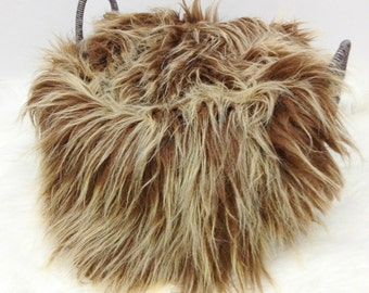 NEW ITEM......EXTREME Frosted Brown Blonde  MOngolian Faux Fur Prop,Deluxe Faux Fur,Newborn Photo Prop, Posing Fabric, R.T.S.