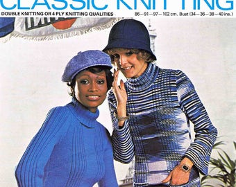 Lady Polo Neck Sweater Pullover Jumper Pockets DK 4 Ply Size 86 to 102 cm 34 to 40 inch Lister/Lee Target 757 Vintage Retro Knitting Pattern