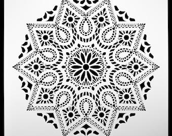 Stained Glass Mosiac Mandala.  Wall / Art / Craft / Painting / Makeup / Furniture / Tattoo / Overlay Airbrush Stencil.