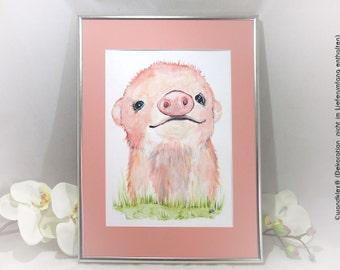 Pink piglet picture large framed pig picture, children's room, pig watercolor, art, decoration nursery, GlücksbringerFErkel, original