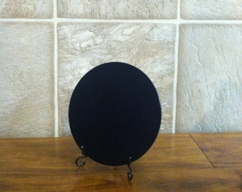"4"" Black Glass Flat Surface Scrying Mirror"