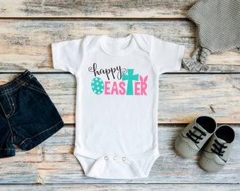 Baby Girl Easter Shirt - Happy Easter Pink Purple Blue Bodysuit for Baby Girl