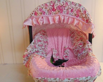Girls Car Seat Canopy- Floral Car Seat Canopy-Add Monograming