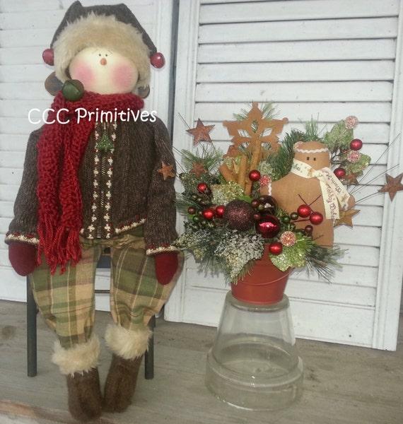 Jake Primitive Snowman - Handmade Primitive Snowman - Primitive Snowman - Handmade Winter Snowman  - Prim Snowman