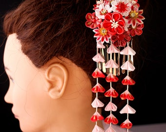 kimono accessories kanzashi -red- geisha Kanzashi, Kanzashi Hair Stick, geisha hair piece, Kanzashi flower, Janpanese Kanzashi-B58