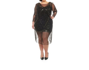 Plus size Betty Black Fringe Dress with Sleeves Slip included 20s inspired Flapper Gatsby Charleston Bridesmaid Wedding Art Deco
