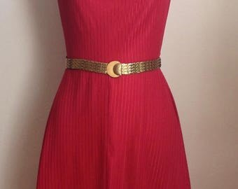 Lovely Vintage 1970's Body Hugging Sleeveless Cherry Red Disco Dress with Slouch Neckline and Scalloped Front Hemline