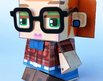 Make your own Hipster paper toy - Sian Cherry and Denim - D.I.Y craft activity kit. Great gift for kids and crafters - DIGITAL DOWNLOAD