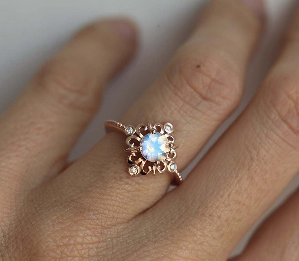 moonstone engagement ring moonstone wedding band Vintage Moonstone Ring in Solid Gold Victorian Engagement Ring Blue Moonstone Ring Rainbow Moonstone Ring Rose Gold Moonstone Ring