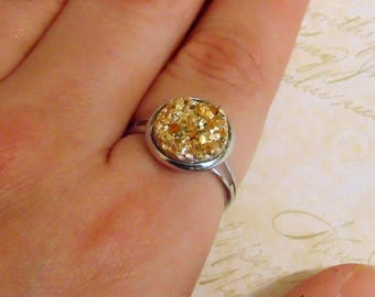 Gold Faux Druzy Ring - Resin Rhinestone Cabochons - 12mm - Adjustable