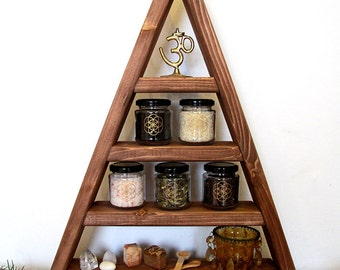 pyramide shelf, triangle, herbs, witch, pagan, witchy, wicca, kitchen, chrystal display, stones, storage, glas, glases, moon zyclus