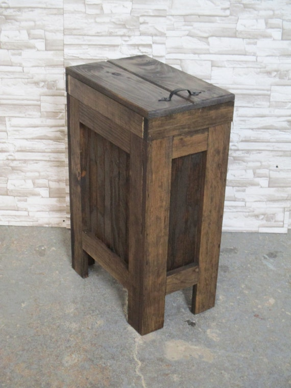 Wood Trash Can Kitchen Garbage Can Wood Trash Bin Rustic