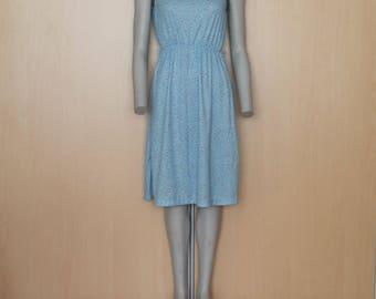 Sky Blue  Vintage Sleeveless Summer  Dress Elastic Waist Romantic Mini Sundress