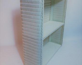 Vintage White Wicker Wall Shelf, Standing Shelf, Two Tier Shelf