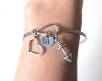 Love to Lift Hand Stamped Initial Barbell Stainless Steel Loop Bangle Bracelet