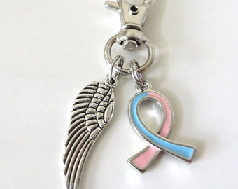 Pink/Blue Awareness Zipper Pull Key Chain YOU Select Charms Infertility Pregnancy Loss Infant Loss SIDS Inflammatory Male Breast Cancer