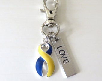 Down Syndrome Awareness Zipper Pull Key Chain YOU Select Charms