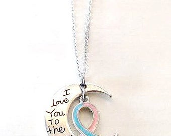 Pink and Blue Awareness I Love You To the Moon and Back Necklace You Select Chain Material and Length