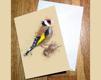 Pretty Image of a Gold Finch Illustration Greetings A6 Card - Artwork by Emily Hunter-Higgins - Blank Inside