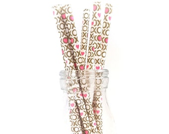 XO Hugs & Kisses Paper Party Straws - party decor / pink / dessert tables / supplies /gold
