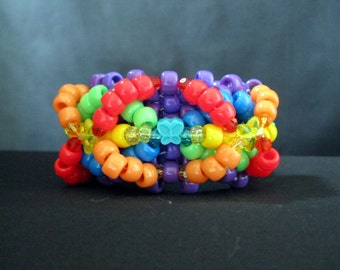 Neon Rainbow Kandi Cuff with Butterfly and Star Accents