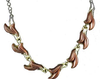 Vtg Choker Necklace Thermoplastic Marbled Brown Swirl Goldtone