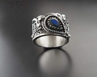 Rainy tear - silver ring with labradorite, unique jewelry, handmade, fine jewelry, pmc jewelry