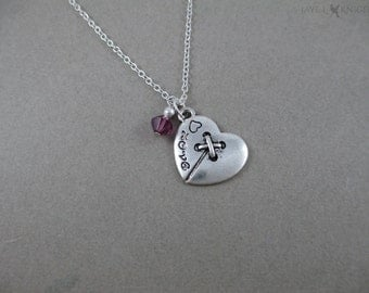 Button Heart Charm Necklace - Sewing Necklace - Seamstress Gift - Silver