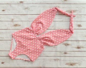 Swimsuit High Waisted Vintage Style One Piece Retro Pin-up Maillot - Amazing Peach Coral And White Polka Dot Print Bathing Suit Swimwear