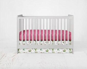 Straight Crib Skirt - Cacti Flowers - Green. Southwest Baby Bedding. Cactus Crib Bedding. Floral Crib Skirt. Desert Crib Skirt.