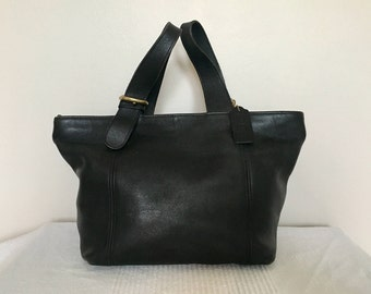 Vintage COACH Black Leather Waverly Soho Top Handle Handbag Purse