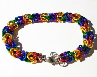 Byzantine aluminium rainbow chain maille bracelet with stainless steel clasp