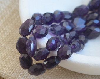 Dark Purple Faceted Amethyst Bead, Freeform Faceted Amethyst Beads, Natural Indian Amethyst Beads, Purple Stone Beads, One Strand, SHA15-04