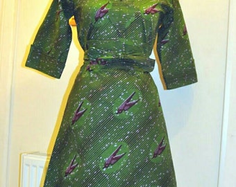 African print shirt dress with obi belt.