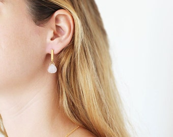 Quartz Stone Gold Drop Earrings, Gold Minimalist Dangle Earrings, Gold Bar Post Earrings, Drop Bar Earrings.