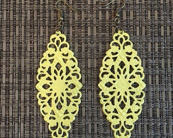 Light Yellow Hand Painted Filigree Earrings