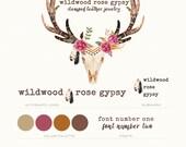 BRAND LOGO Kit Premade Custom Package Watermark Business Card Etsy Shop Wedding Artist Crafter Photographer Bohemian Gypsy Tattoo Peony