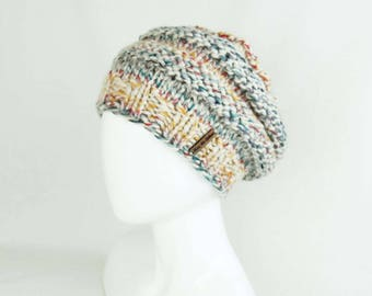 Beehive Slouchy Beanie - Hand Knit Hat, Knitted Hat, Handknit Teen Beanie, Handmade Hat